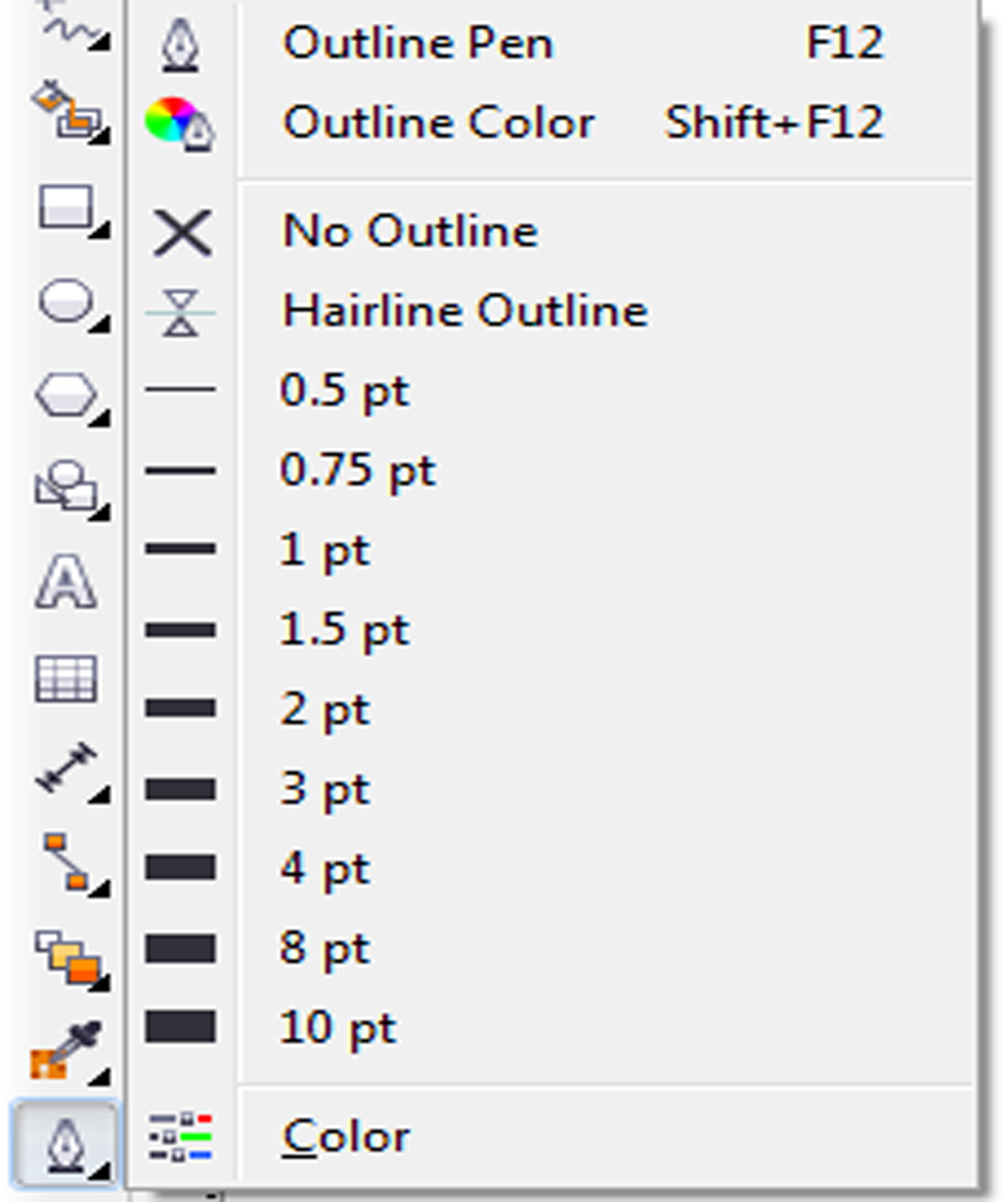 Outline Tools in Corel Draw