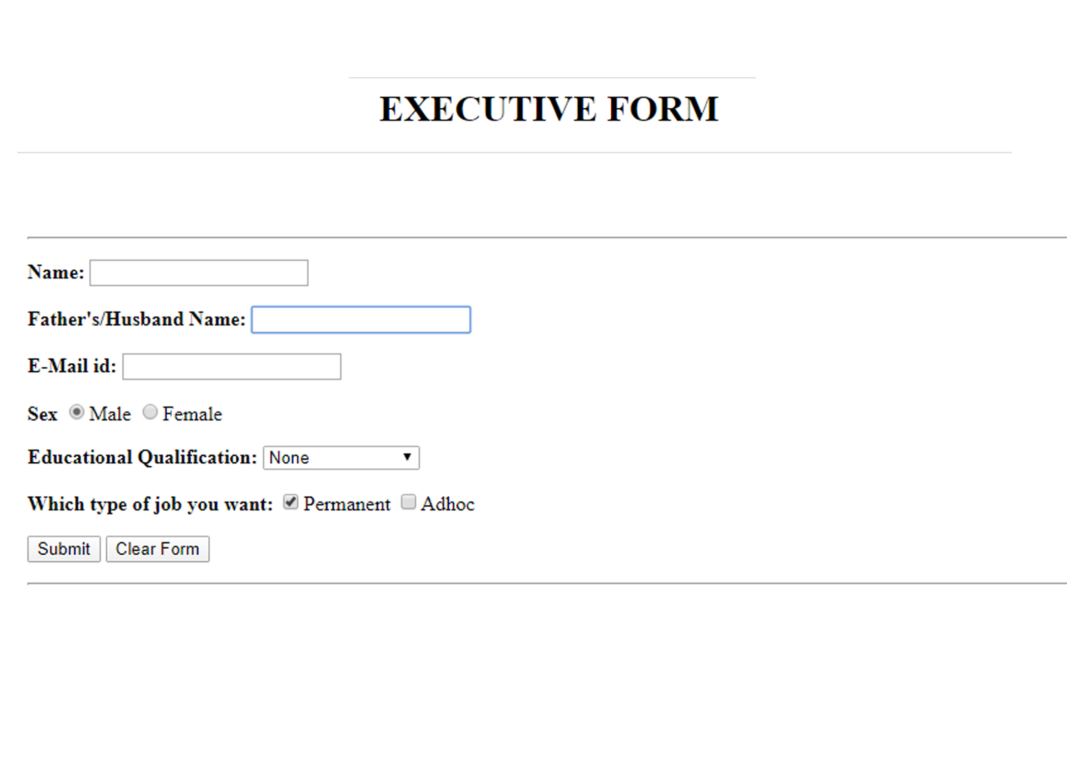 Create a Form in HTML